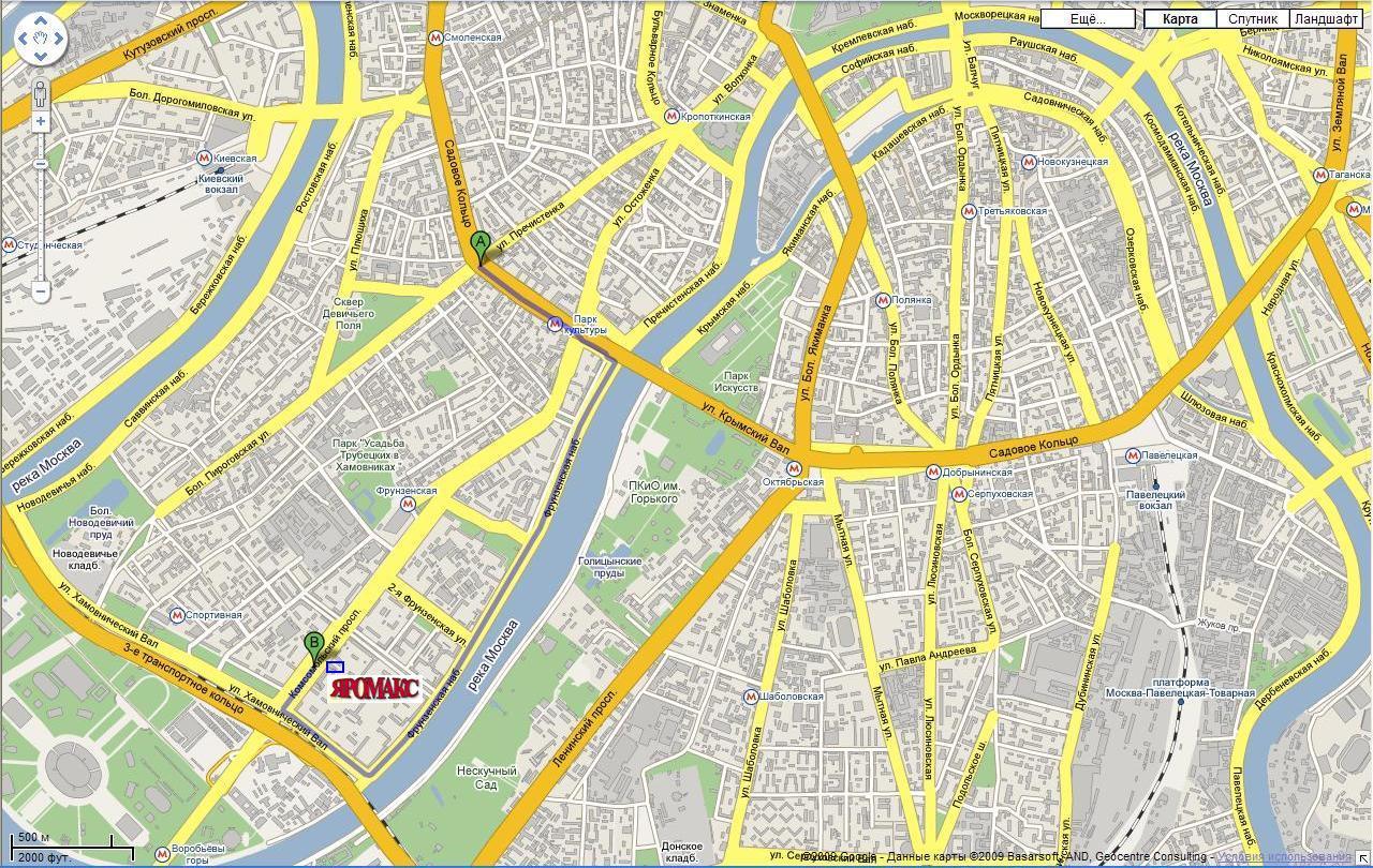 Схема проезда со стороны Садового кольца от Октябрьской площади.